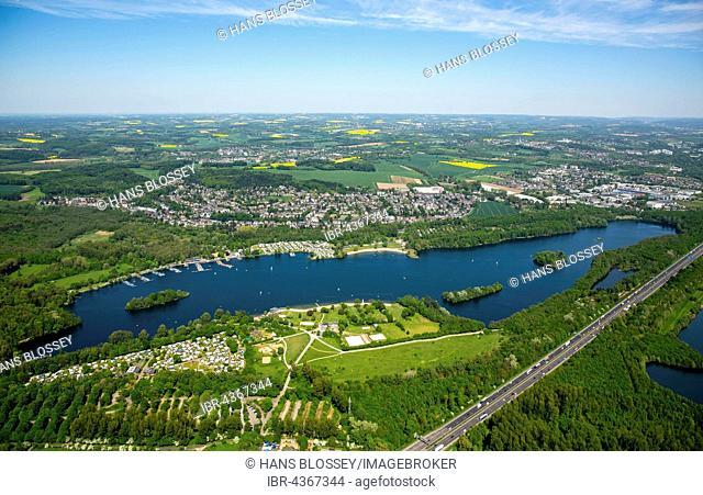 Aerial view, overview Unterbacher See, recreation area Unterbacher See, Düsseldorf, Niederrhein, North Rhine-Westphalia, Germany