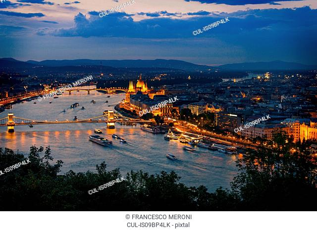 Night view of Chain Bridge, Danube, Gellert Hill, Budapest, Hungary