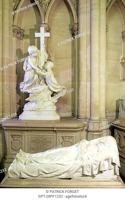 PRINCE LOUIS D'ORLEANS CALLED THE VEILED CHILD 7 YEARS OLD, RECUMBENT STATUES OF THE ORLEANS FAMILY, ROYAL CHAPEL OF DREUX, EURE-ET-LOIR 28, FRANCE