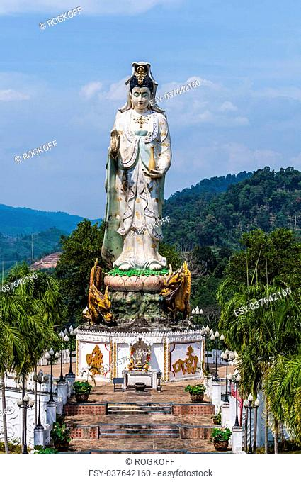 The sculpture of the goddess of mercy in the mountains of Thailand