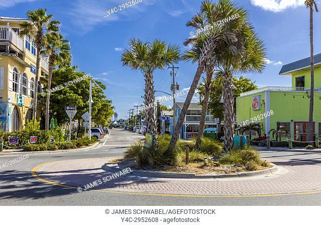 Bridge Street in historic old town district of Bradenton Beach on Anna Maria Island Florida