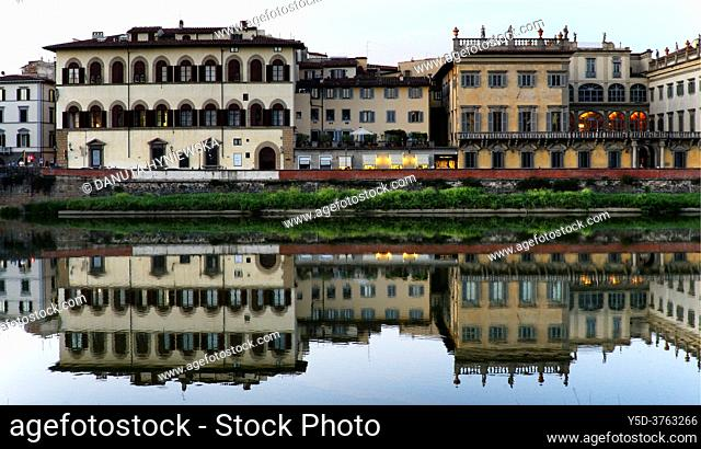 historic buildings of Palazzo Corsini along Arno river in the evening, Lungarno Corsini, Florence, Tuscany, Italy, Europe