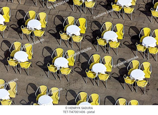 Tables on St Mark's Square in Venice Venice, Veneto, Italy