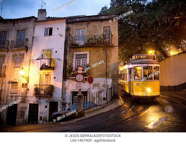 Tram 28 in Alfama, Lisboa, Portugal