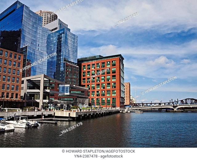 Modern buildings in Boston, Massachusetts stand on the site where Griffin's Wharf once stood. It is believed that Griffn's Wharf is where the Boston Tea Party...