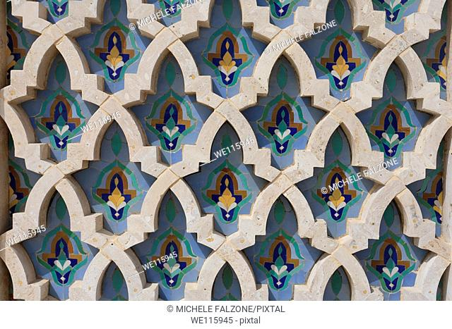 Morocco, Casablanca, Mosque of Hassan II, detail of wall tile