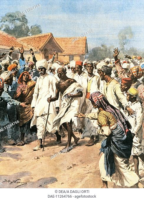 Gandhi and Eighty Martyrs going towards the Jalalpur saltmines. Achille Beltrame (1871-1945), from La Domenica del Corriere, 1930