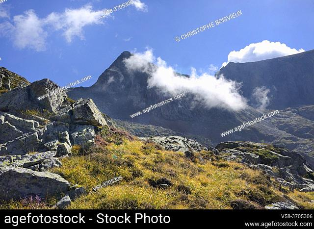 France, Ariege, Couserans region, Pyramide shaped Mont Valier (2838 m)