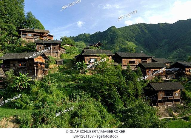 Xijiang, largest village of the Miao minority in China, with traditional wooden Miao houses, Xijiang, Guizhou, south China, China, Asia