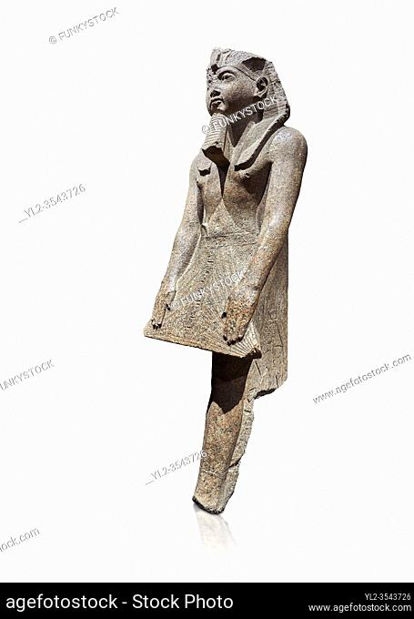 Ancient Egyptian statue of Ramesses II , granite, New Kingdom, 18th Dynasty, (1500-1400 BC, Karnak, Temple of Mut. Egyptian Museum, Turin