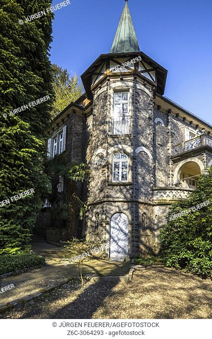 Idyllic restaurant and castle Zuckerbergschloss, Kappelrodeck, Germany at the foothills of the Northern Black Forest