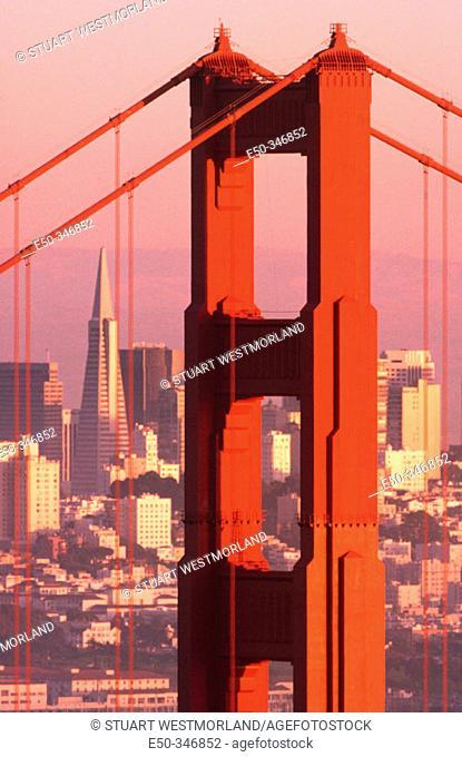 Golden Gate Bridge and downtown. San Francisco, California. USA