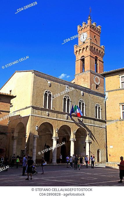 Europe, Italy, Tuscany, Pienza city, the palace of town hall