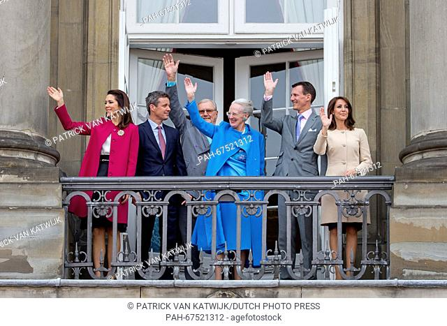 Crown Princess Mary (L-R), Crown Prince Frederik, Queen Margrethe, Prince Henrik, Prince Joachim and Princess Marie of Denmark during the 76th birthday...