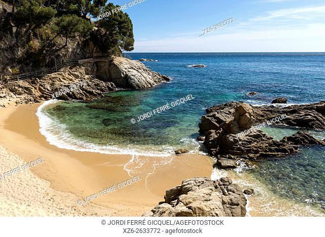 El Paller beach, walking path from Platja d'Aro to Palamós, Calonge, Costa Brava, Baix Empordà, Costa Brava, Catalonia