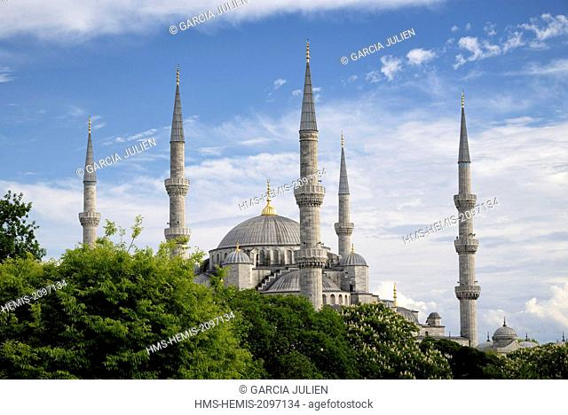 Turkey, Istanbul, historical center listed as World Heritage by UNESCO, Sultanahmet district, Blue Mosque (Sultanahmet Camii)