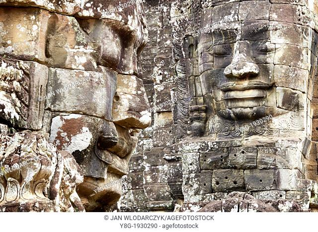 Angkor Temples Complex - stone faces of Bayon Temple Towers, Angkor Thom, Cambodia, Asia