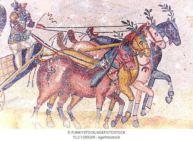 Circus Maximus - Ancient Roman mosaics at the Villa Romana del Casale, Sicily, Italy