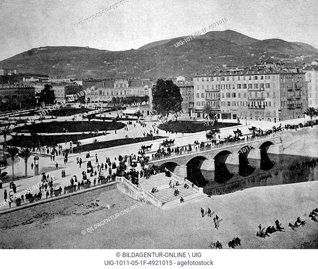 Early autotype of the le jardin public park, nice, france, historical photo, 1884