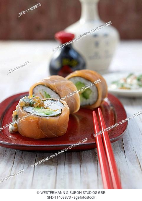 California rolls with salmon and surimi