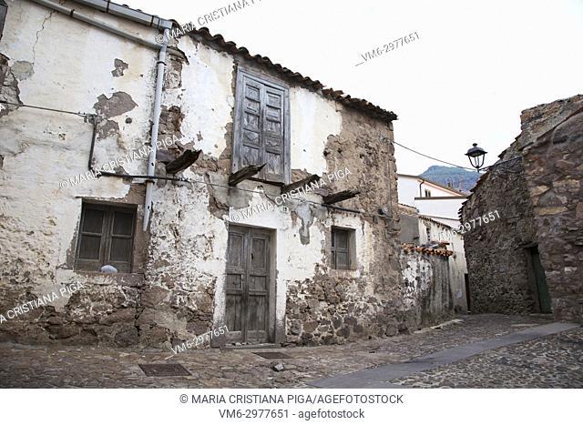 A derelict building in the old village of Bortigali, Sardinia, Italy