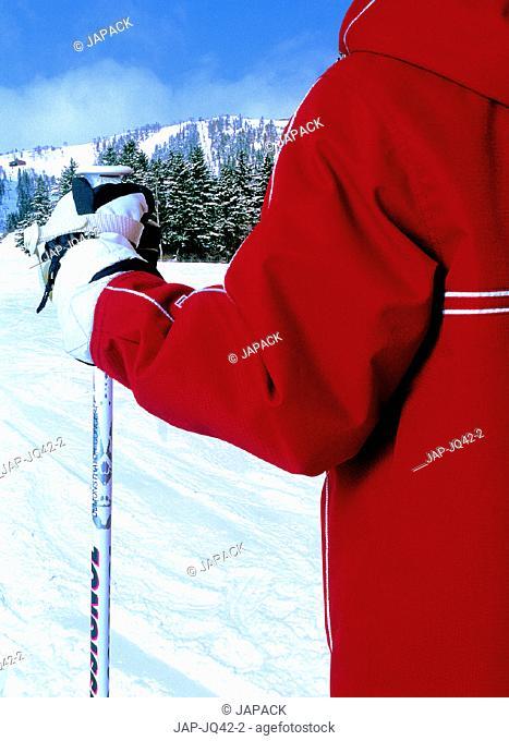 Skier and ski pole