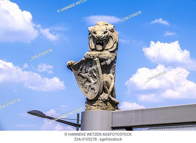 Lion statue at the entrance of the central station in 's Hertogenbosch, The Netherlands, Europe