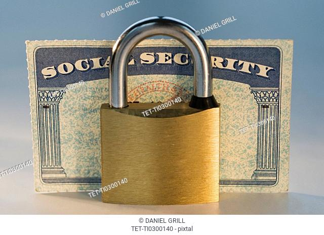 Close up of lock and social security card