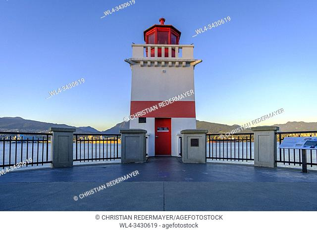 Lighthouse in Stanley Park Vancouver, British Columbia during sunset