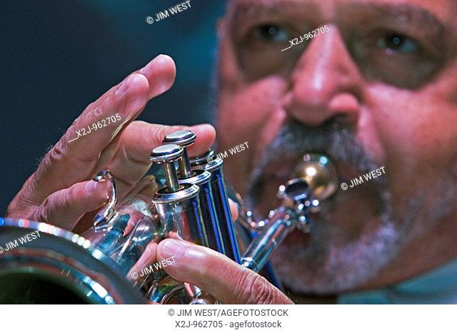 Chicago, Illinois - Arthur Hoyle plays the trumpet in the Dean Rolando Quartet at the AFL-CIO convention  He is a member of the American Federation of Musicians