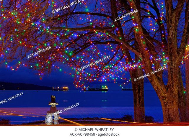 Christmas lights at English Bay, Vancouver, British Columbia, Canada