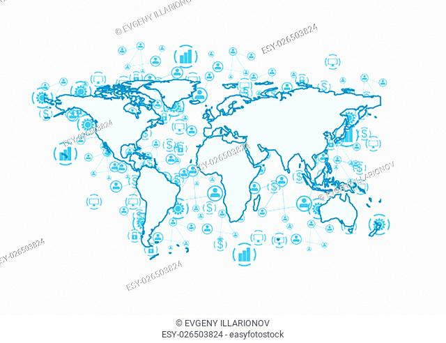 World communication abstract tech background