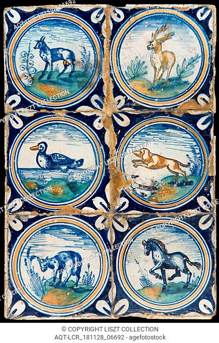 Tile field, six tiles, animal decor, orange, green and blue on white, including deer, duck, dog and horse, in circle with quarter rosette in saving technique