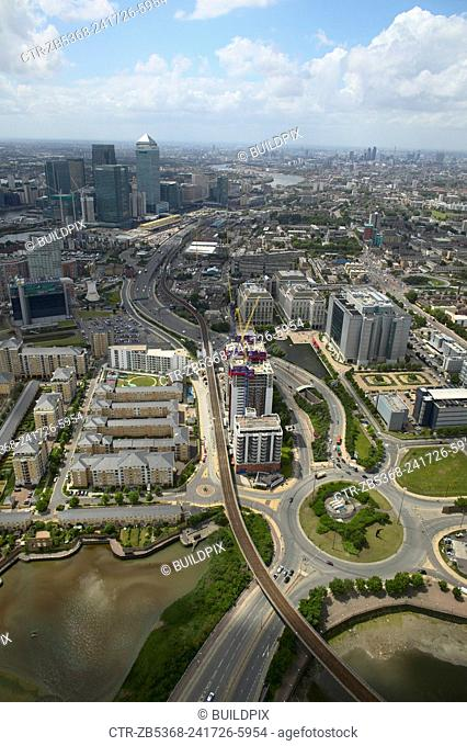 Aerial view of London Docklands, Thames Gateway, UK