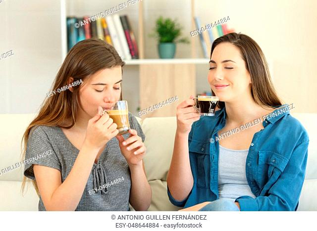 Two friends enjoying of a coffee cups sitting on a couch in the living room at home