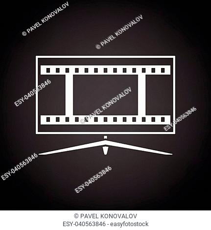 Cinema TV screen icon. Black background with white. Vector illustration