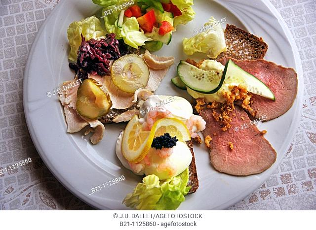 'Smorbrod' Danish open sandwiches on brown bread, ham, shrimps and roastbeef, Denmark