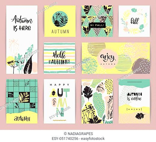 Set of artistic creative autumn cards. Hand Drawn textures and brush lettering. Design for poster, card, invitation, placard, brochure, flyer