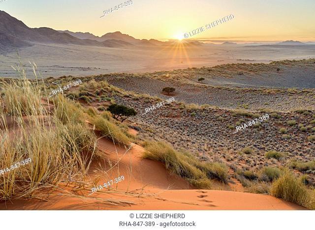 Sunrise from the dunes of NamibRand, Namib Desert, Namibia, Africa