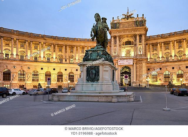 Neue Burg Museum complex at Hofburg Imperial Palace. Vienna Austria