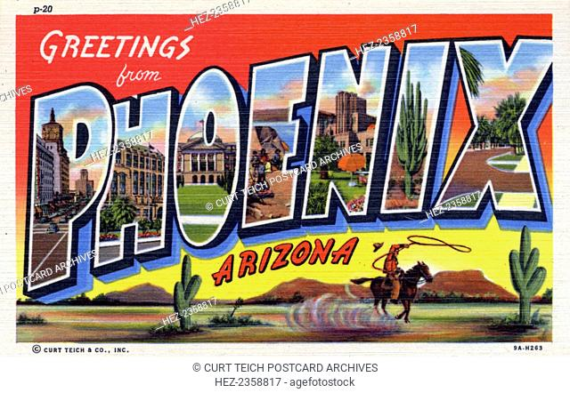 'Greetings from Phoenix, Arizona', postcard, 1939. Large letter postcard of Phoenix, Arizona, showing views of the city in each letter