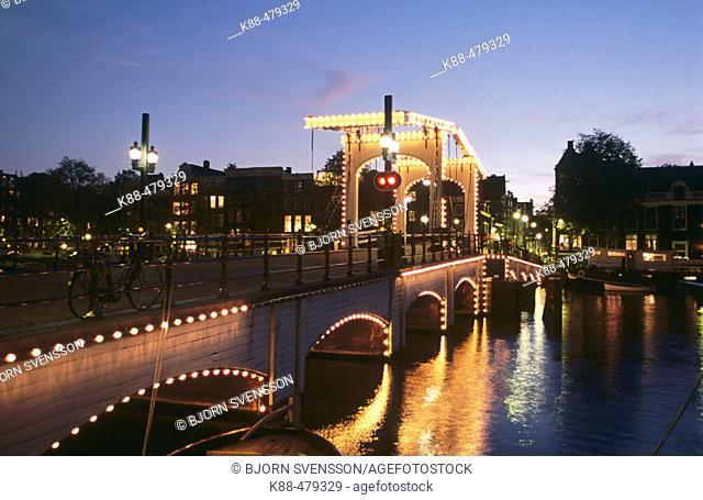 Magere Brug over Amstel river, Amsterdam. Holland