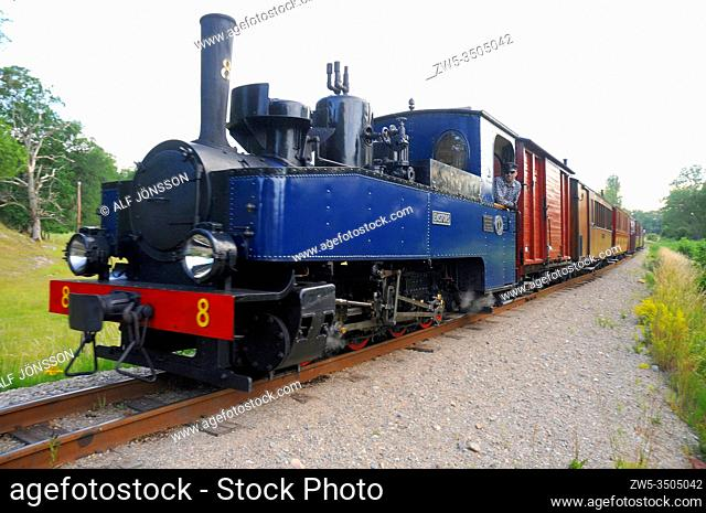 Museum train with Emsfors locomotive in Mariefred, Sodermanland, Sweden. Built by Hartmann in Germany during the first world war