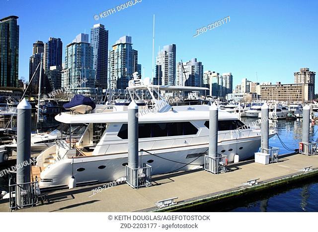 Boat in marina, Coal Harbour, Vancouver, British Columbia