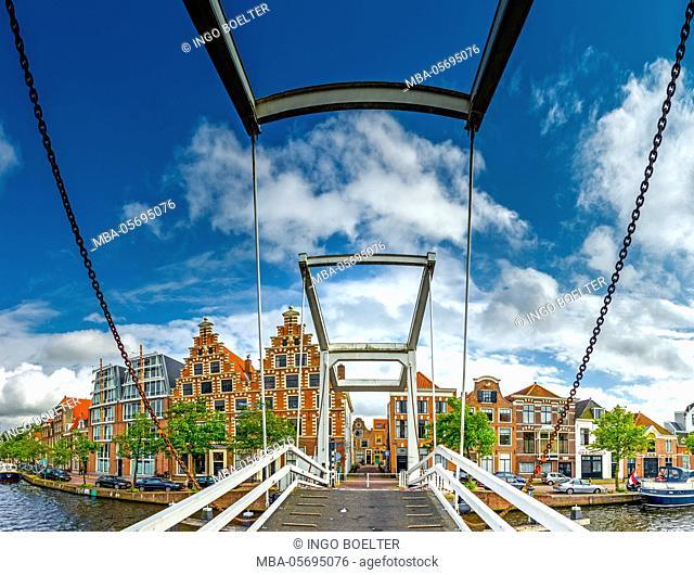 The Netherlands, Haarlem, canal, bridge, drawbridge