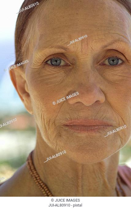 Close up of senior woman outdoors