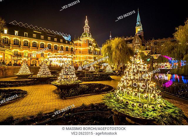Denmark, Sjelland, Copenhagen . Christmas in Tivoli Gardens, Christmas decorations