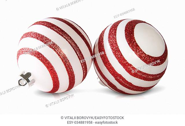 Two Red And White Christmas Balls Isolated On White Background