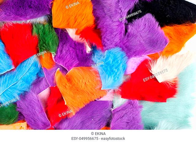 Texture colored rags rabbit fur