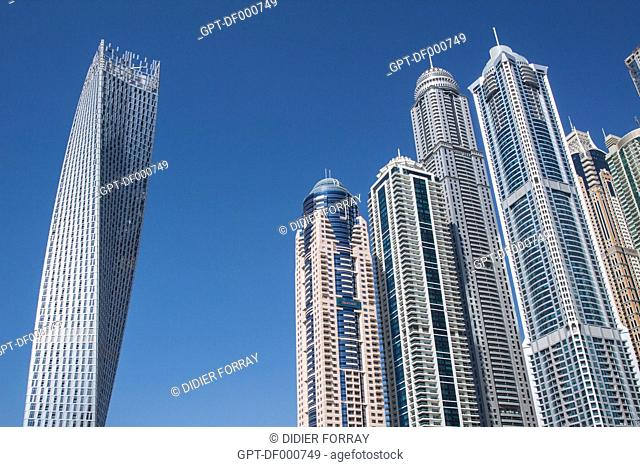 THE CAYAN TOWER, ALSO KNOWN AS THE INFINITY TOWER, AND OTHER BUILDINGS IN THE NEIGHBORHOOD OF THE DUBAI MARINA, DUBAI, UNITED ARAB EMIRATES, MIDDLE EAST